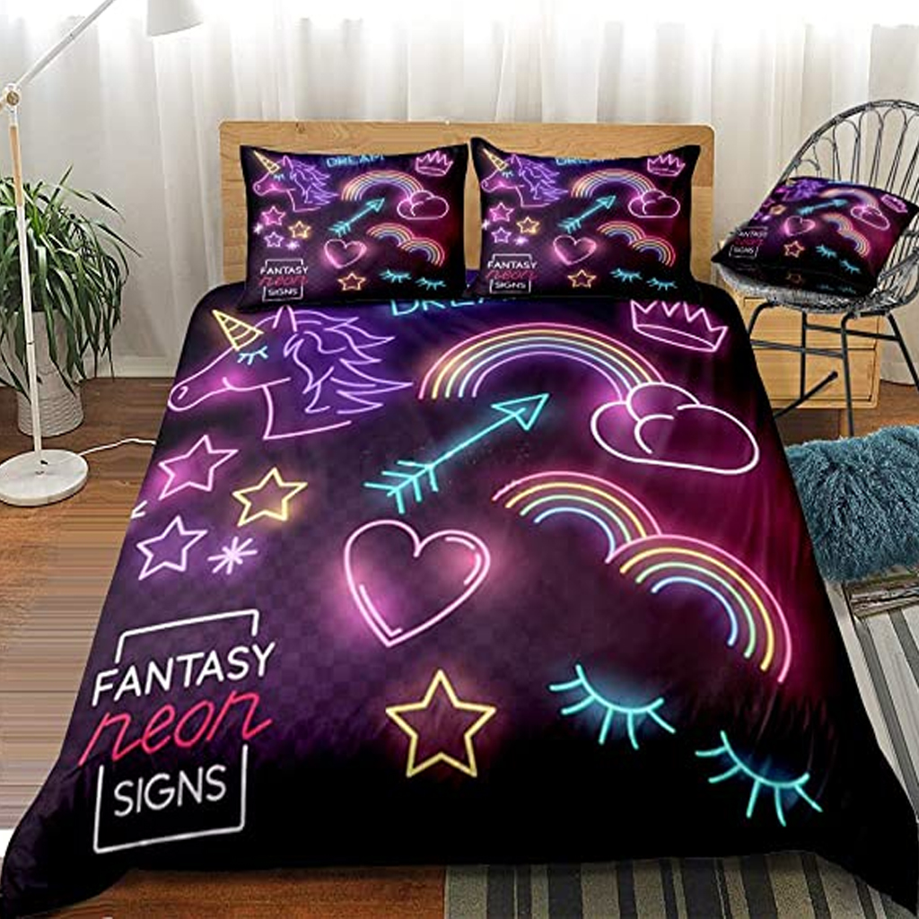 best-glow-in-the-dark-unicorn-designed-duvet-cover-set
